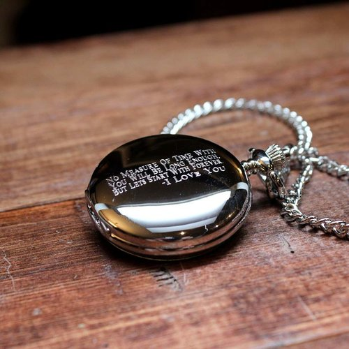 9ea95c0c6 Personalized Pocket Watch - Polished Chrome, Mechanical - Groomsmen Gift,  Gifts for Men, Birthday, Engraved, Father's Day, Dad - 003