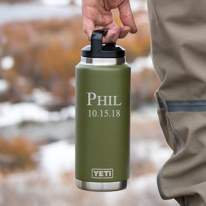 personalized green yeti 36oz rambler bottle vacuum insulated