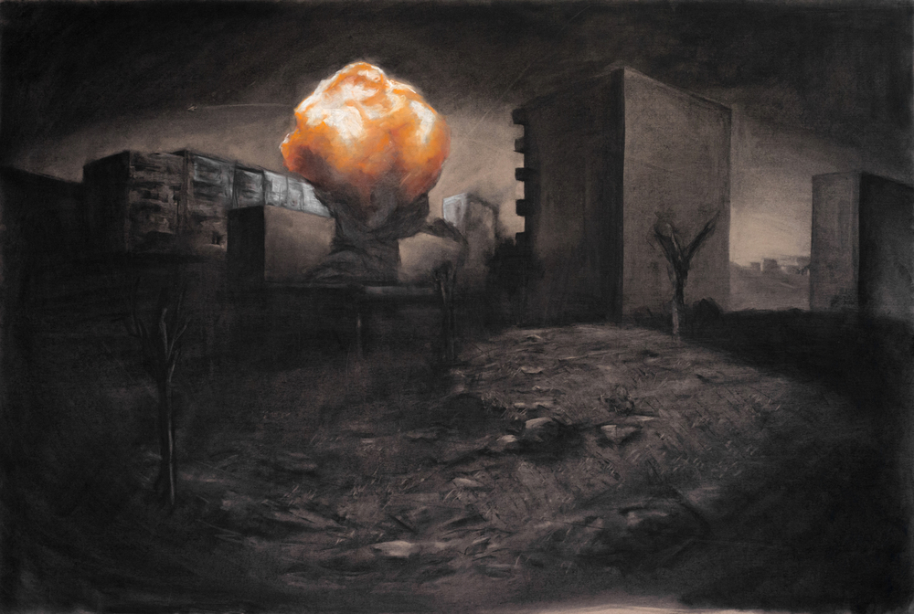 """Munition"" Charcoal, Pastel on 4' x 6' MDF, 2013"