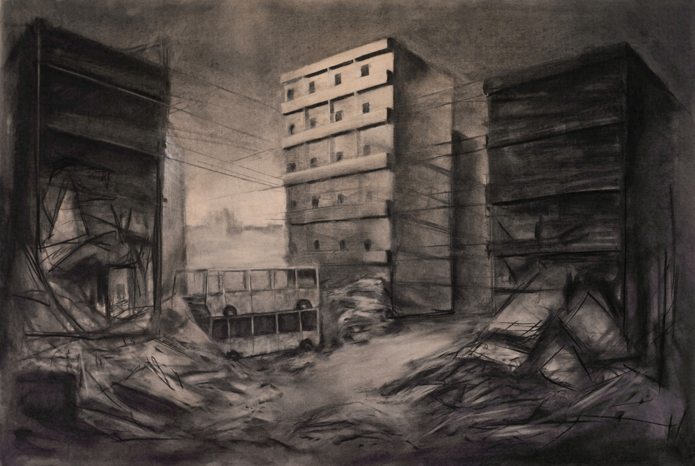 """The Crossing"" Charcoal, Graphite on 4' x 6' MDF, 2013"