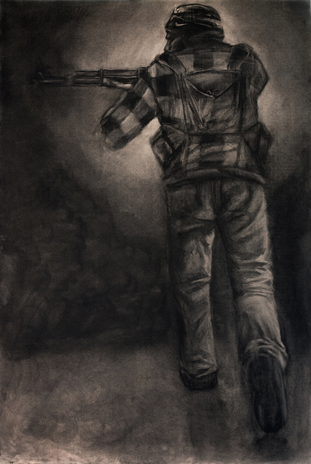 """Rebel Fighter"" Charcoal on 6' x 4' MDF, 2013"