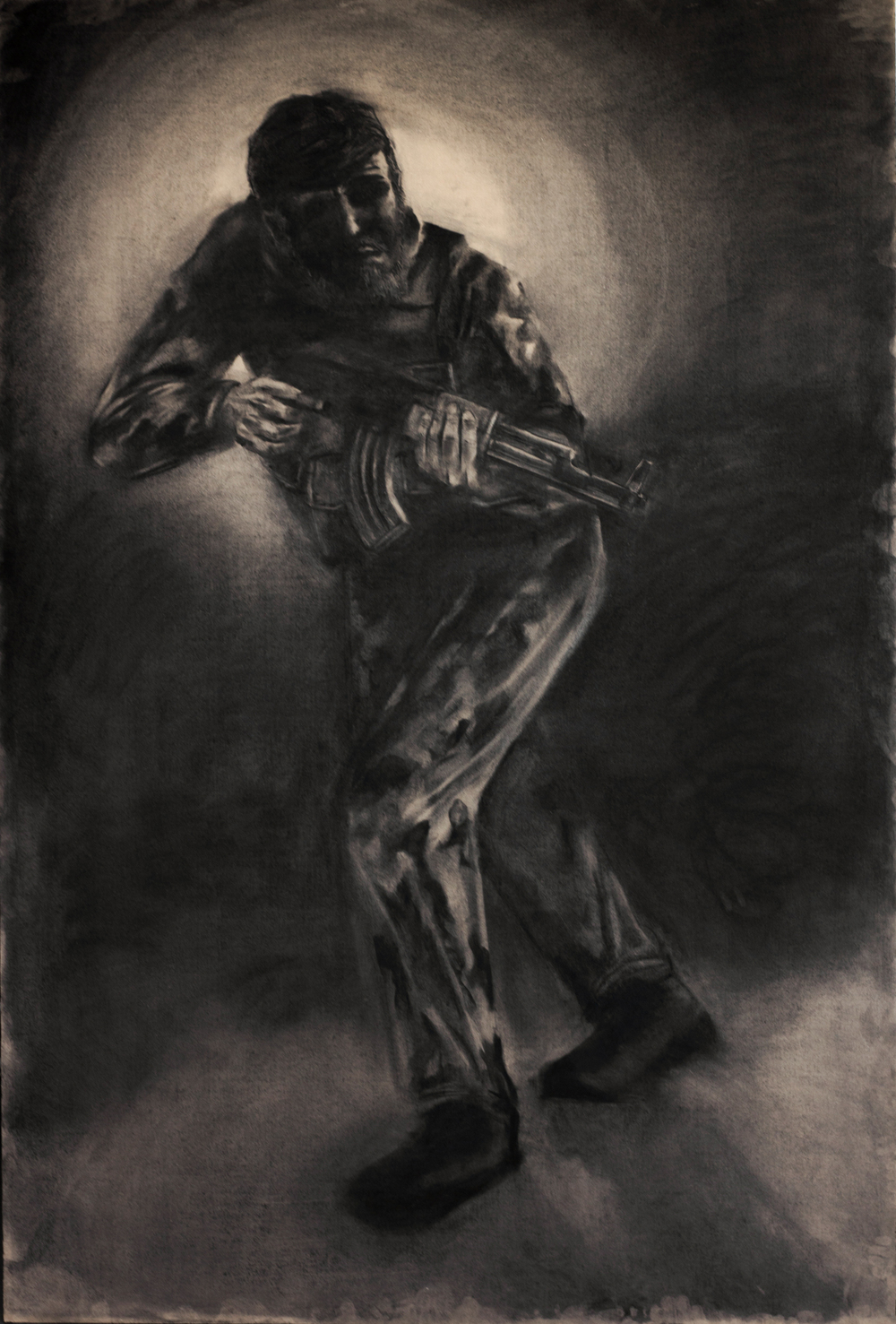 """Government Soldier"" Charcoal on 6' x 4' MDF, 2013"