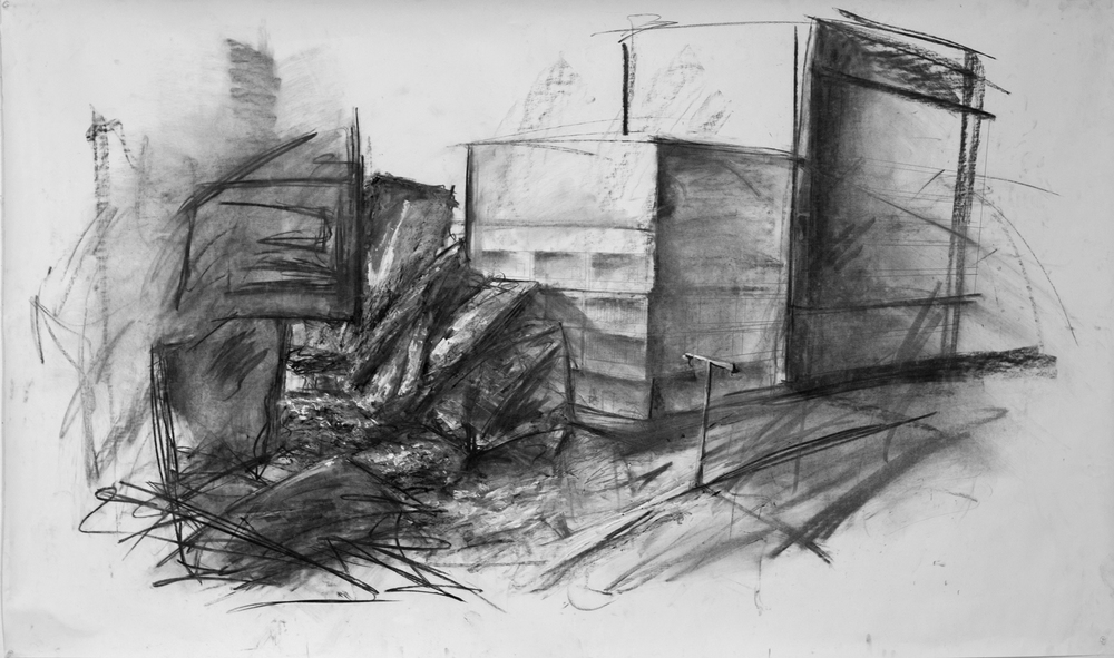 """Neighborhood"" Charcoal, Acrylic on 4' x 6' paper, 2013"