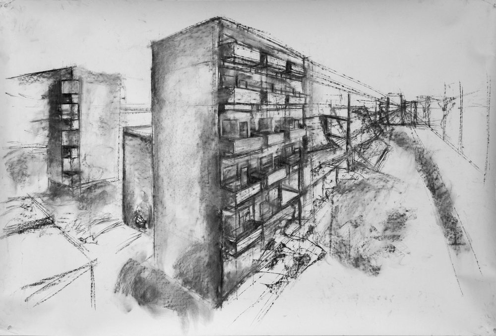 """Suburb"" Charcoal on 4' x 6' paper, 2013"