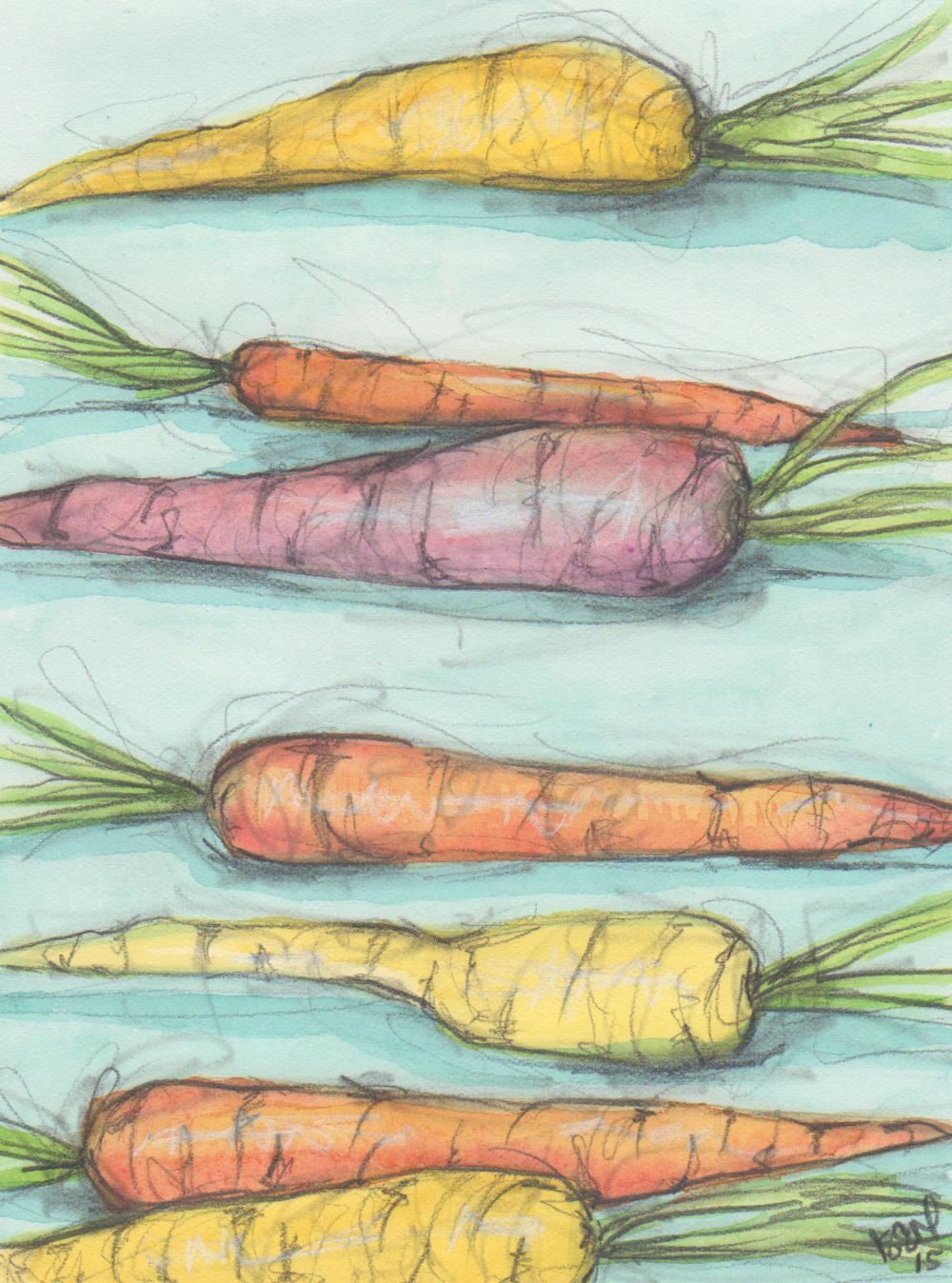 Carrot painting prints can be found in my  Etsy shop .