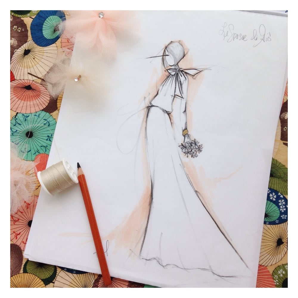 Sketch of a Le Spose di Gio wedding gown, May 2015