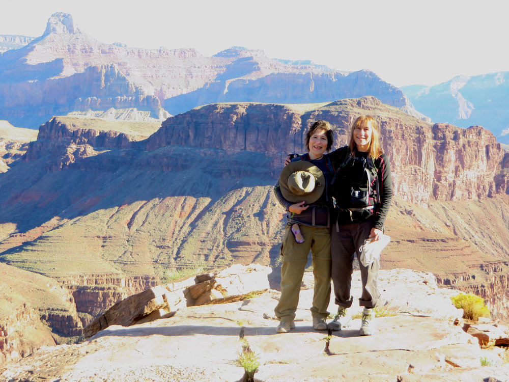 Martha and her sister Jane hiking the Grand Canyon.