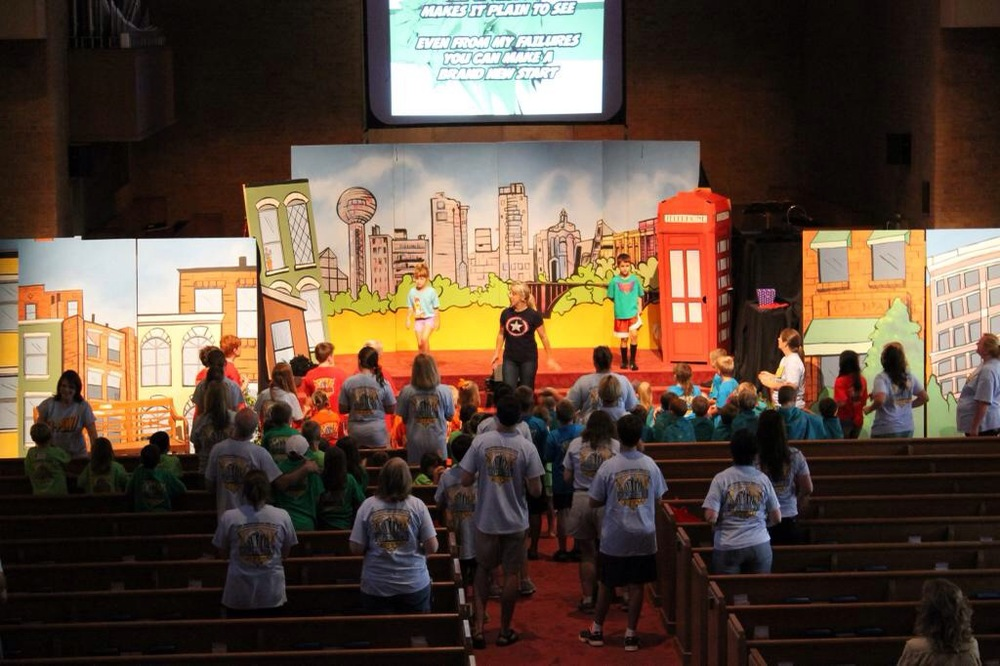 The mini-Kryptonites in Superhero City, 2nd Presbyterian, Knoxville, TN.  My proud Mama's heart bursts when I see this picture, representing the unplanned and unexpected honor of leading worship with my own 9YO Ryan and 6YO Rachel. We three were small but mighty in Knoxville, and we immediately fell in love with one of the sweetest group of kids and leaders that I've ever worked with.