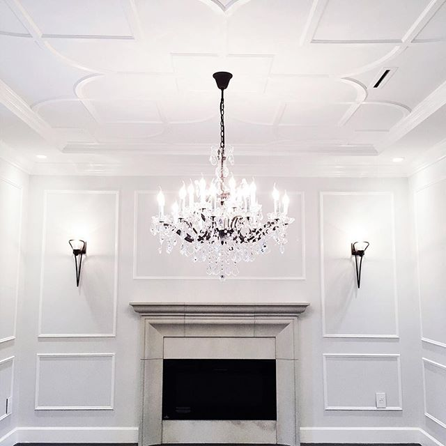 This 19th C Roccoco restoration hardware chandelier sparkles as it highlights the decorative moulding applied to the ceiling in our South Surrey new construction living room. . . . . . . . #interiordesign #accentrixdesign #customhomes  #southsurrey #interiordetails  #millworkdesign #luxuryinteriors #designdetails #Burnabydesigners #newconstructionhomes #vancouverdesigners #yvrdesign  #livingrooms #openplan #luxuryhomes #homedesign #fullserviceinteriordesigners  #vancouverinteriors #designideas #interiors #homedesign #decoration #housetour #interiordecor #lovelyinterior  #transitionalstyle #wallpanelling #realestate #newcontructionvancouver  #homedecor #designideas #restorationhardware