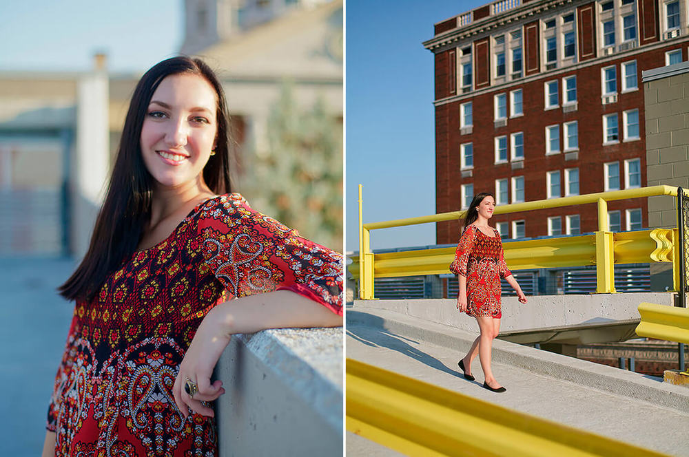 6-Senior-Portrait-Photography-York-PA-Ken-Bruggeman-Girl-Red-Dress-Walking-Parking-Garage.jpg