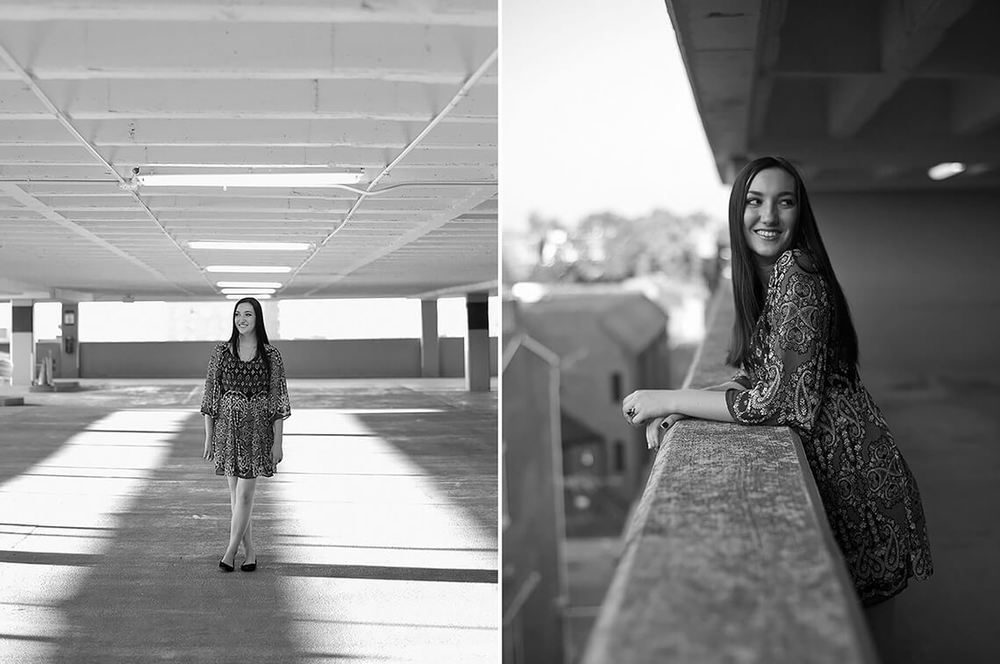 7-Senior-Portrait-Photography-York-PA-Ken-Bruggeman-Girl-Laughing-Standing-Lights-Parking-Garage.jpg