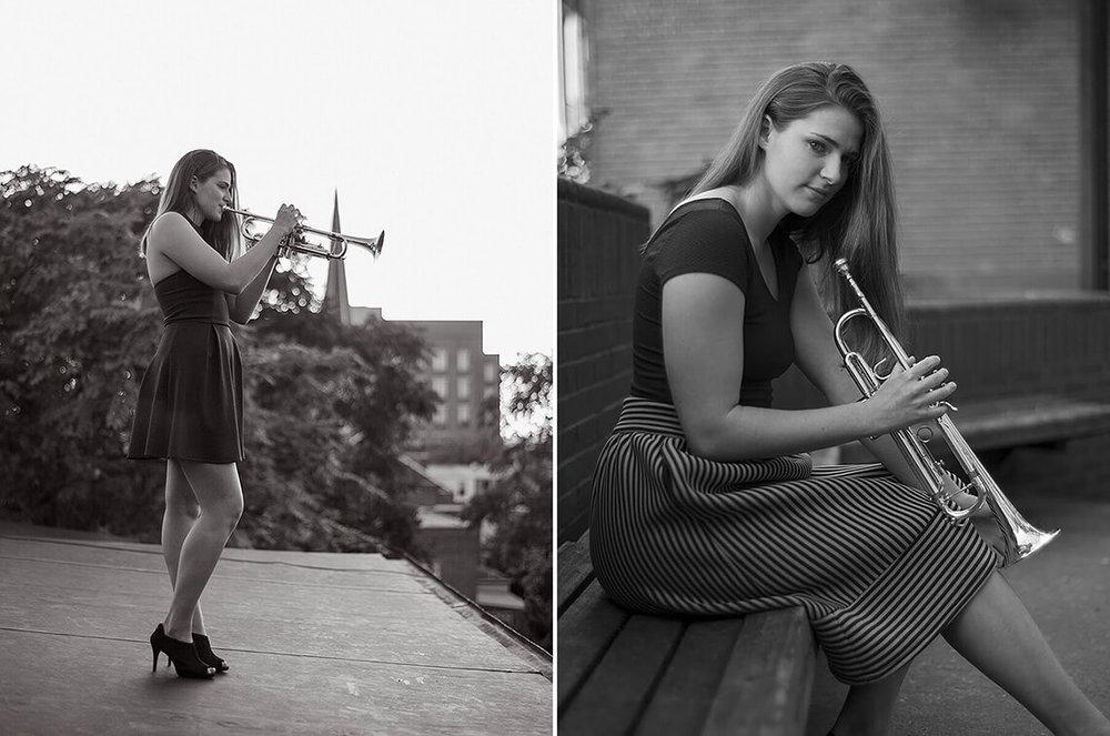 2-York-PA-Senior-Portraits-Ken-Bruggeman-Photography-Black-White-Trumpet-Playing-Roof.jpg