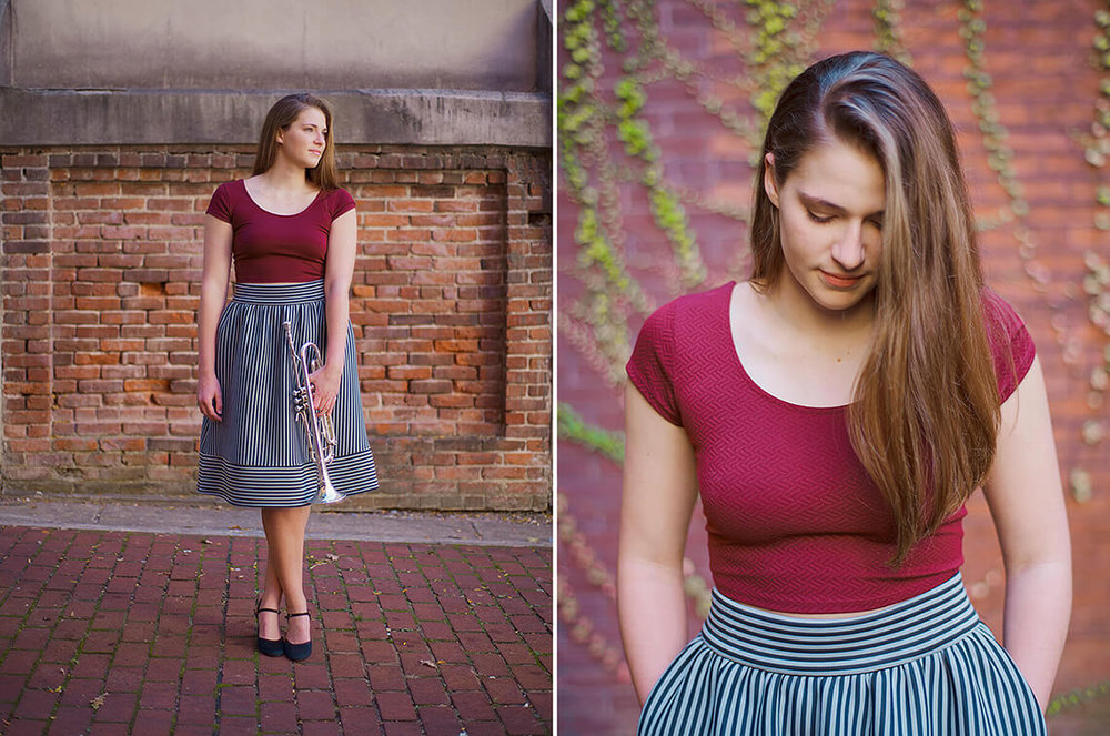 1-York-PA-Senior-Portraits-Ken-Bruggeman-Photography-Girl-Standing-Brick-Wall-Holding-Trumpet.jpg