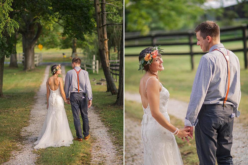 23-Wedding-Photographer-York-PA-Ken-Bruggeman-Bride-Groom-Walking-Sunset-Lane.jpg
