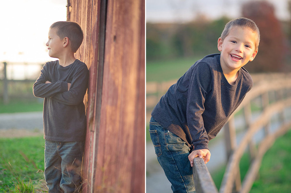 7-Family-Photographer-York-PA-Ken-Bruggeman-Photography-Phillips-Family-Portraits-Little-Boy-Smiling-Standing-Red-Barn-Sunset.jpg