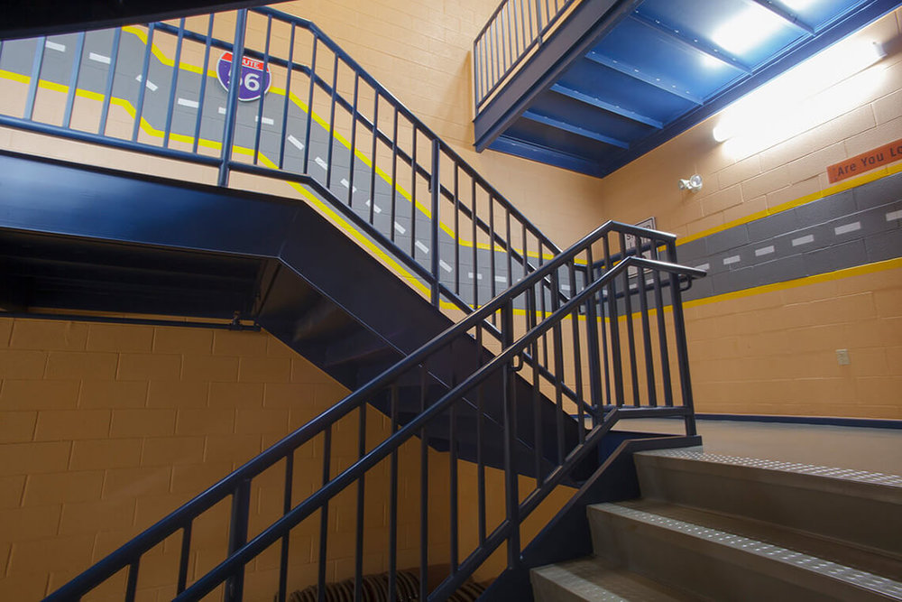 17-Commercial-Architectural-Photographer-York-PA-Ken-Bruggeman-Photography-Grace-Fellowship-New-Salem-Campus-Painted-Stairwell-Childrens-Ministry.jpg