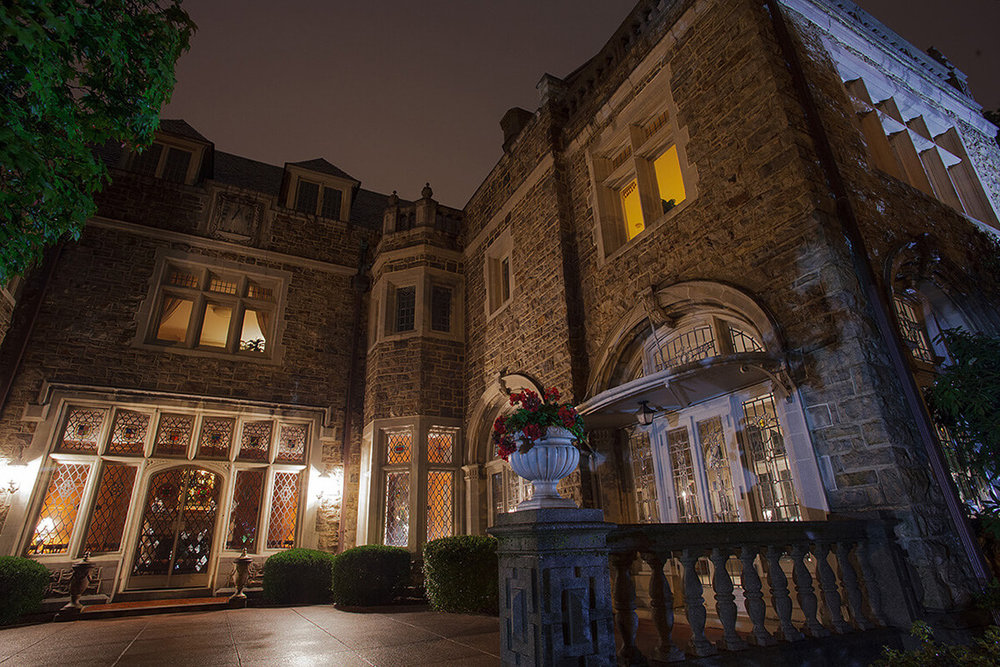 11-Commercial-Architectural-Photographer-York-PA-Ken-Bruggeman-Photography-Historic-Hahn-Home-George-St-Funeral-Home-Night-Lighting-Colorful-Patio-Area.jpg