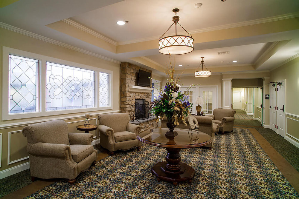 7-Commercial-Architectural-Photographer-York-PA-Ken-Bruggeman-Photography-Senior-Living-Home-Piney-Court-Laurel-Village-Lobby-Seating-Fireplace.jpg