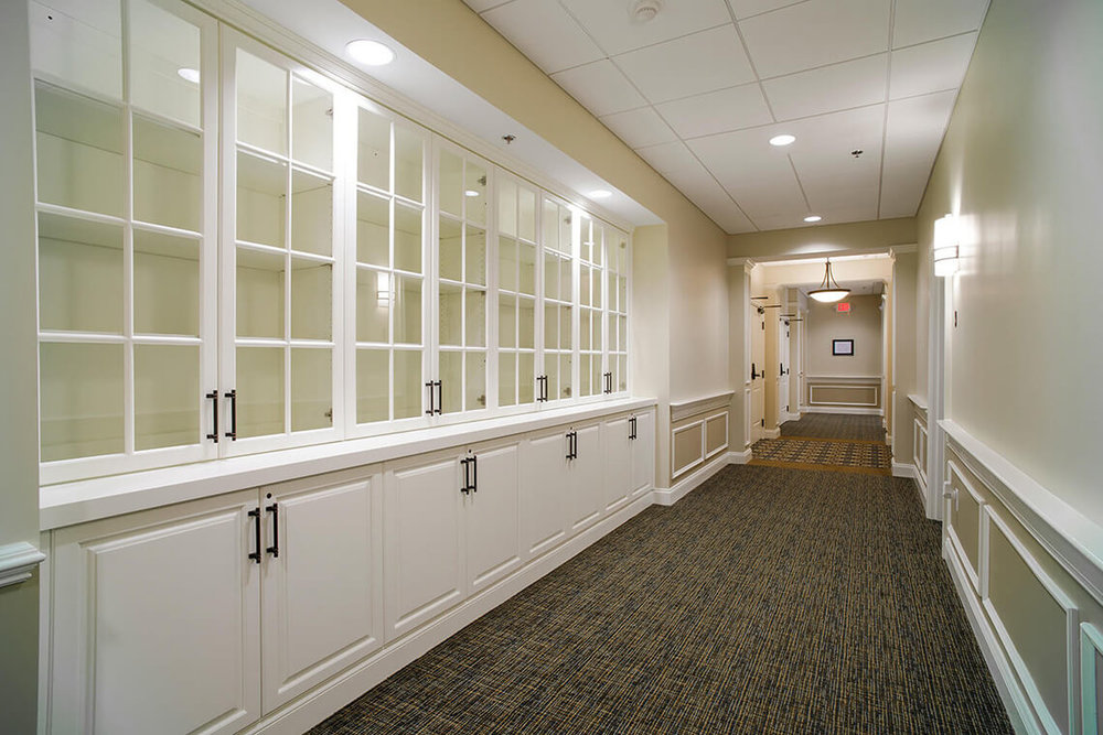 14-Commercial-Architectural-Photographer-York-PA-Ken-Bruggeman-Photography-Senior-Living-Home-Piney-Court-Laurel-Village-Custom-Wood-Glass-Shelving-Hall.jpg