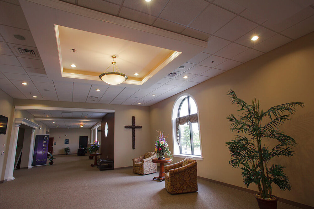 7-Commercial-Architectural-Photographer-York-PA-Ken-Bruggeman-Photography-Reamstown-Church-God-Lobby-Cross-Wall-Suspended-Ceiling.jpg