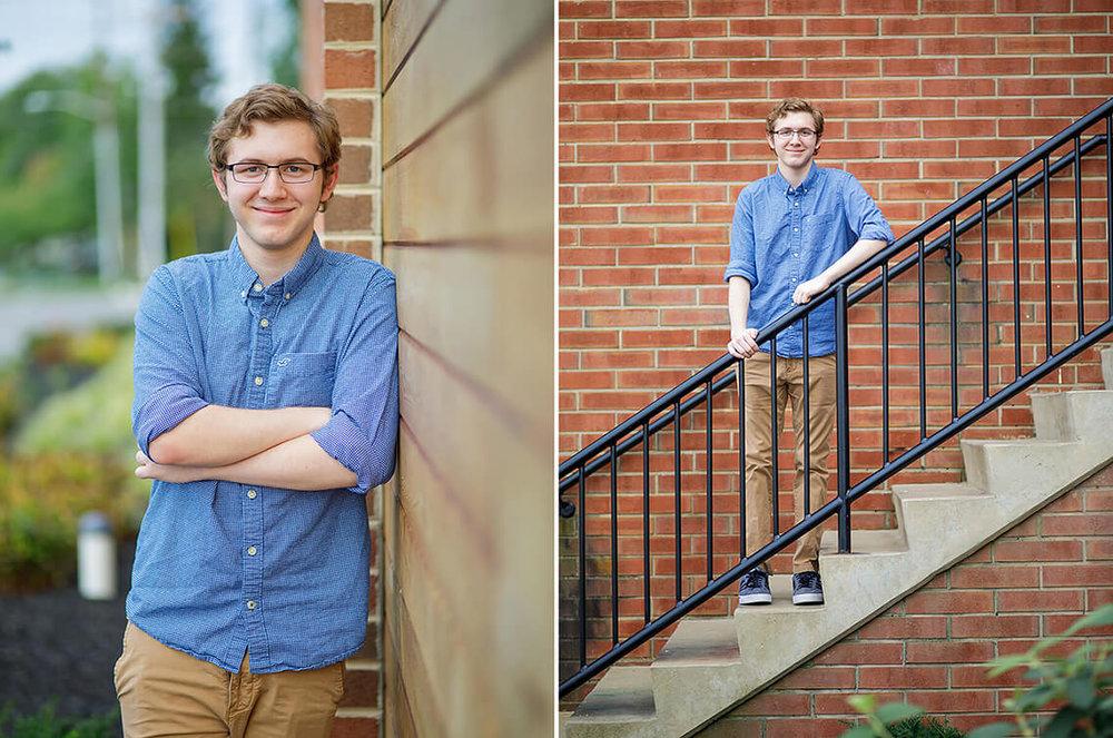 6-Senior-Portrait-Photographer-York-PA-Ken-Bruggeman-Photography-York-Country-Day-Young-Man-Standing-Smiling-Stairs-Brick-Wall.jpg