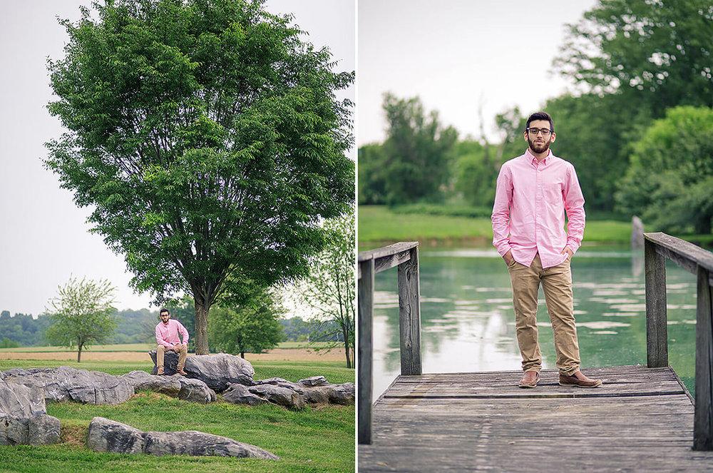 3-Senior-Portrait-Photographer-York-PA-Ken-Bruggeman-Photography-Pink-Shirt-Standing-Dock-Sitting-Rocks.jpg