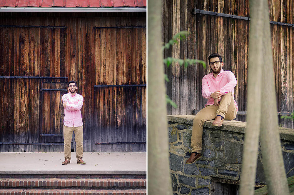 8-Senior-Portrait-Photographer-York-PA-Ken-Bruggeman-Photography-Young-Man-Standing-Wooden-Barn-Smiling-Pink-Shirt.jpg