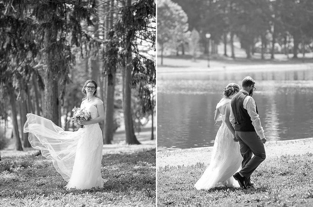 12-Max-Halterman-Sammi-Wedding-Photographer-York-PA-Ken-Bruggeman-Photography-Black-White-Bride-Dress-Blowing-Groom-Walking.jpg