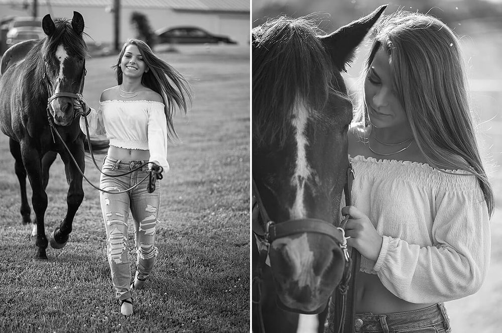 1-Senior-Portrait-Photographer-York-PA-Ken-Bruggeman-Photography-Young-Woman-Walking-Horse-Smiling-Black-White.jpg