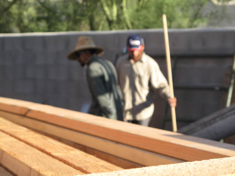 Didn't know this was out of focus. Think of it as a fast action shot. They guy in the hat is Ed. He lives in the hood and will help us with projects around the house once all this is done.