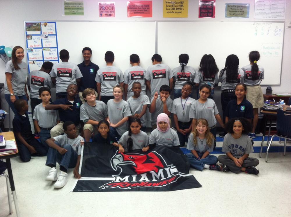 Natalie Klem (Miami Alum)and her homeroom classroom repping their Miami OH Skyline Shirts!