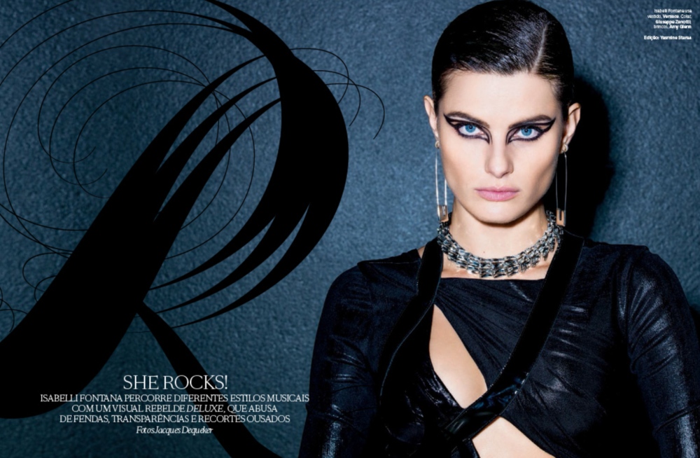 Strong graphic eyes on the drop dead gorgeous Isabelli Fontana.