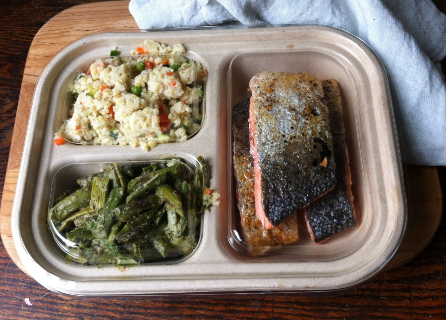 Roasted Salmon with Sprouted Spring Millet and Slow Roasted Asparagus w/Almond-Mint Pesto