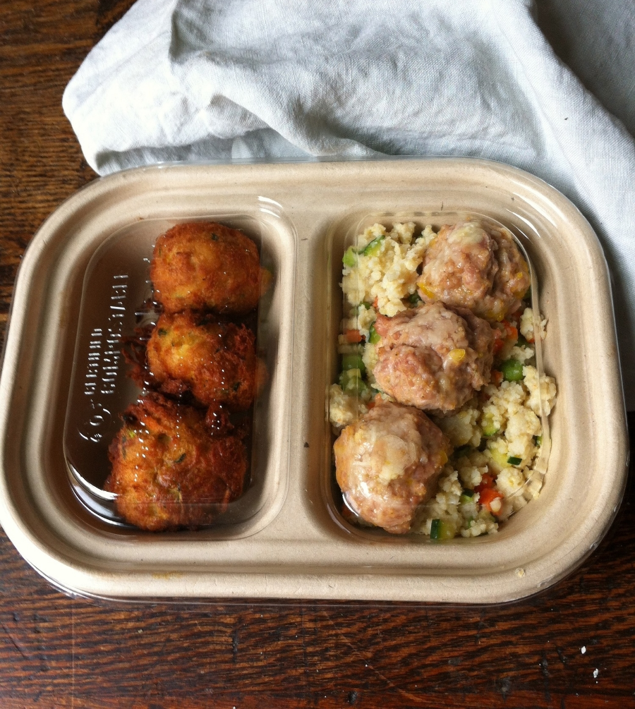 Cheesy Turkey Meatballs over Sprouted Spring Millet and Chickpea-Fava Croquettes