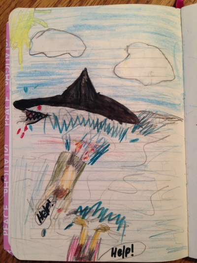Celeste's Drawing of a Shark Attack 2013, Age 9
