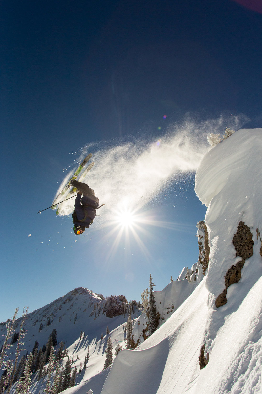 Jonnie Merrill backflipping in Rocky Point at Alta Ski Resort