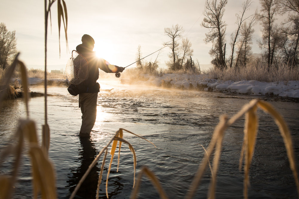 Greg Houska fly fishing on the Provo River in Utah at sunrise