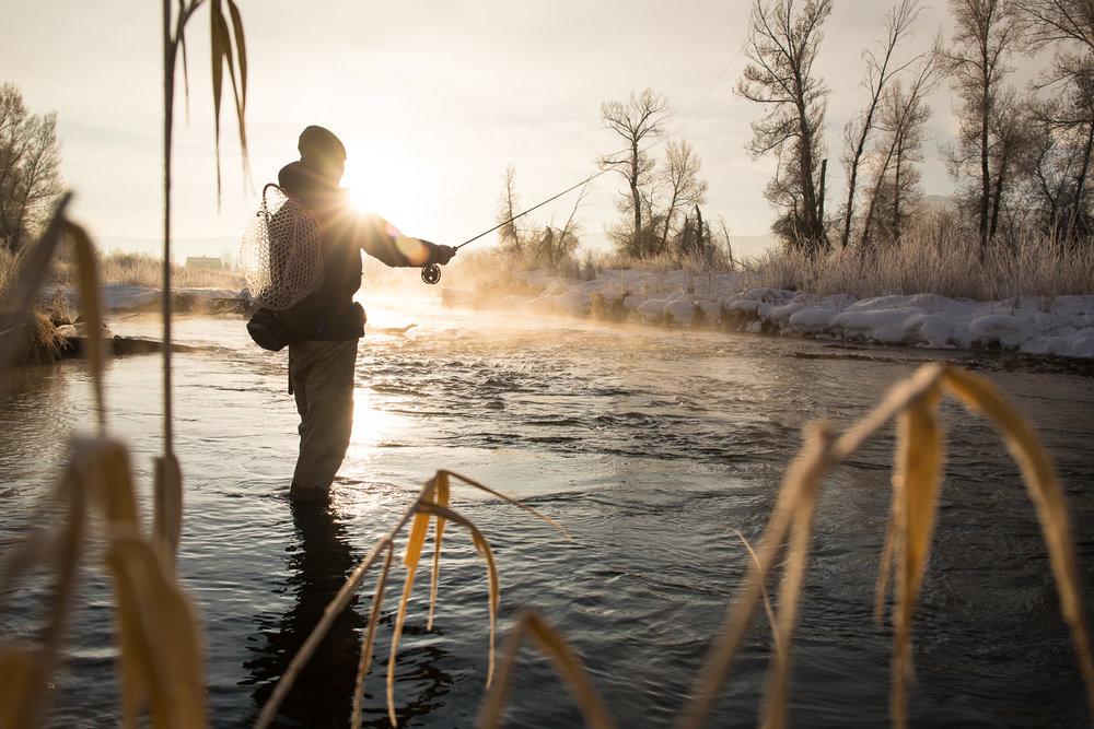 Greg Houska fly fishing on the Provo River in Utah at sunrise
