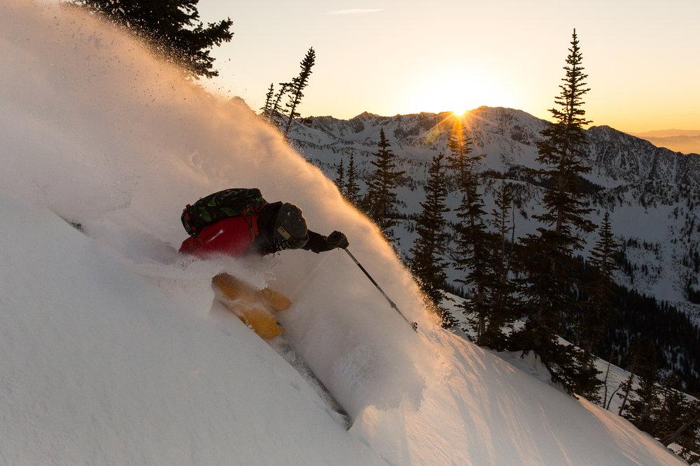 Eric Fabbri skiing the backcountry of Snowbird Ski Resort