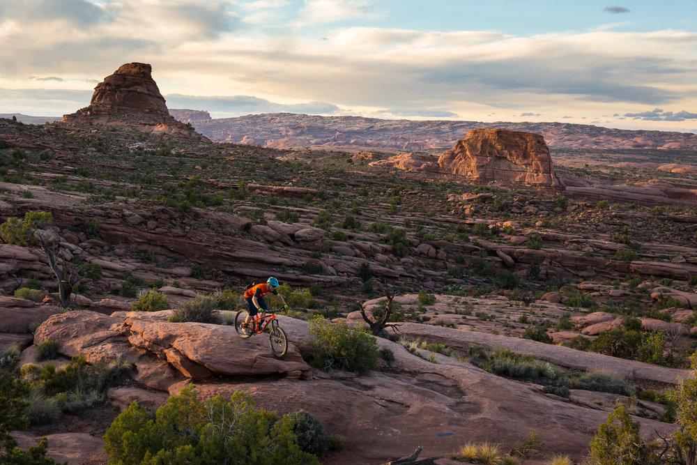 Brandon Peterson riding Captain Ahab trail in Moab, Utah
