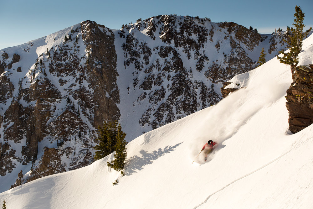 Luke Perin skiing in Mineral Basin at Snowbird Ski Resort