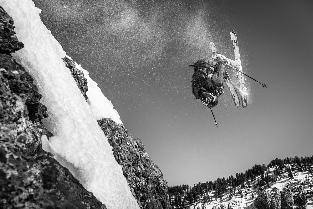 Jonnie Merrill backflipping off Honeycomb at Solitude Ski Resort