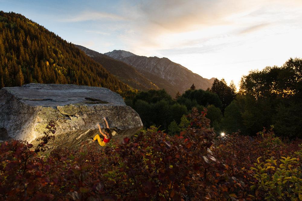 Jules Jimreivat bouldering in Little Cottonwood Canyon, Utah