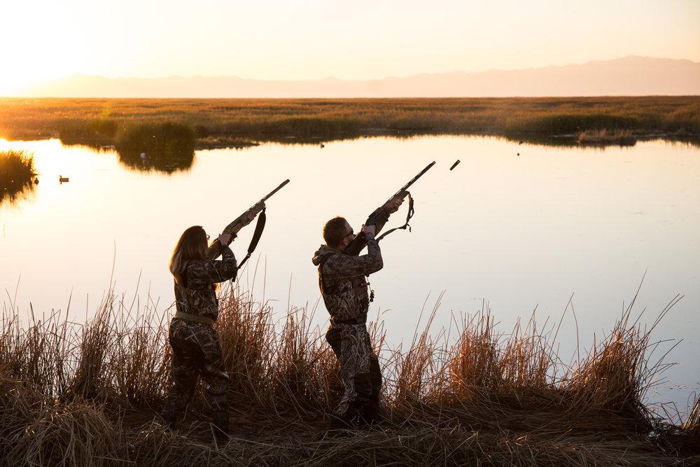 Duck Hunting in Farmington Bay, Utah