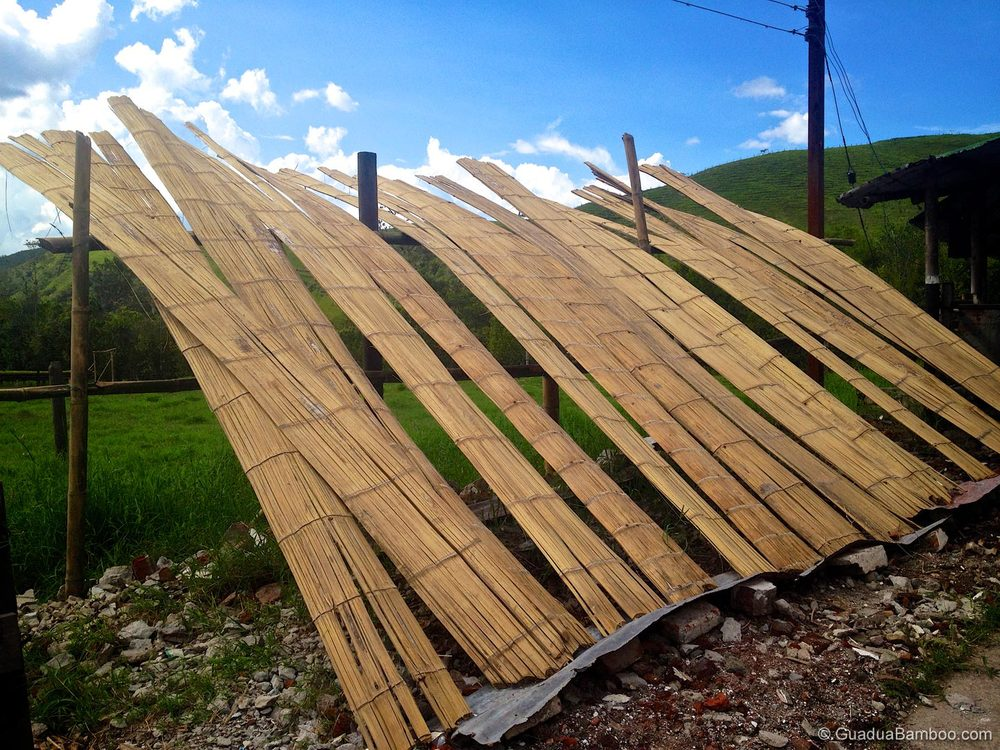Drying crushed bamboo mats