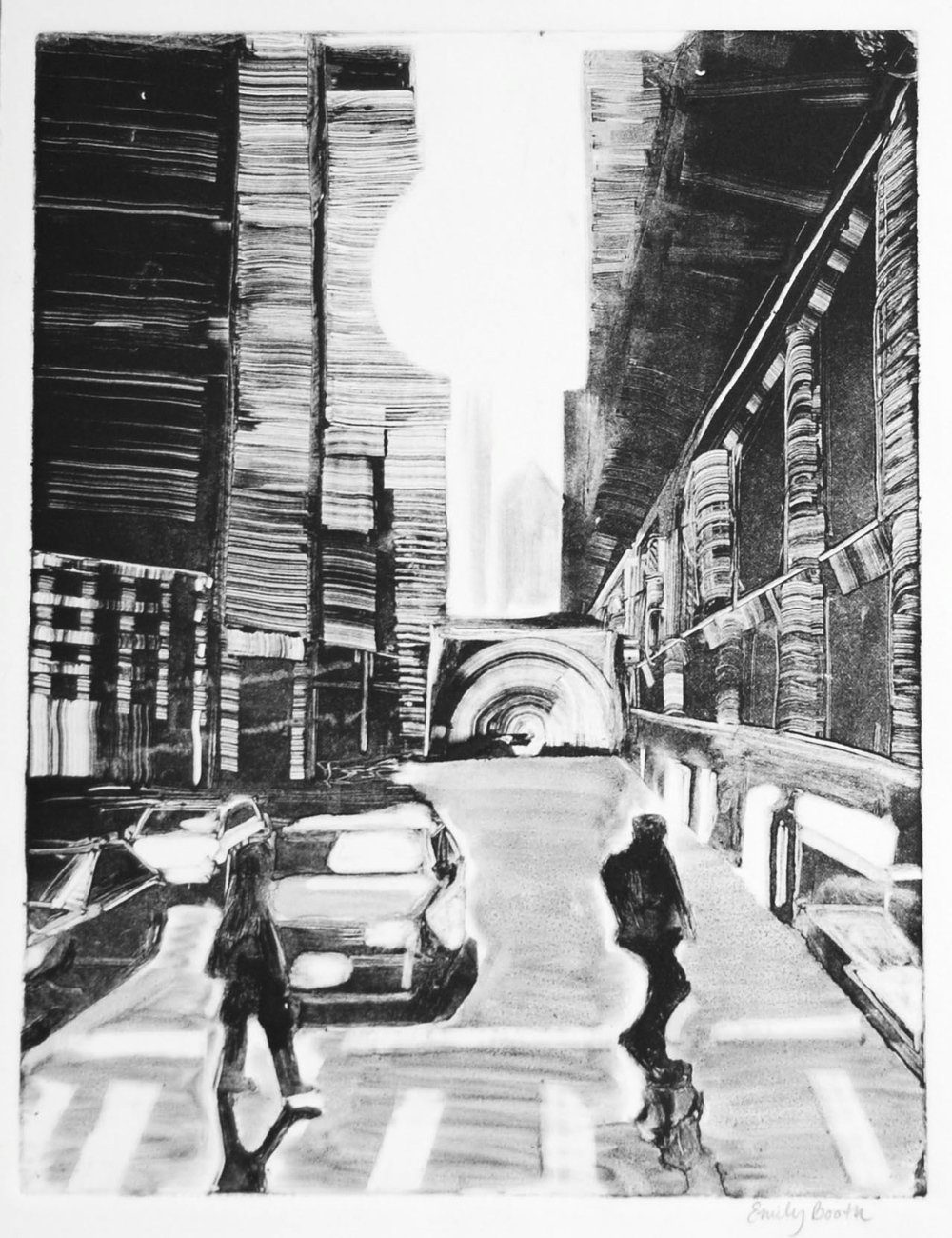 Chicago Financial Cave / Monotype / Ink on Paper