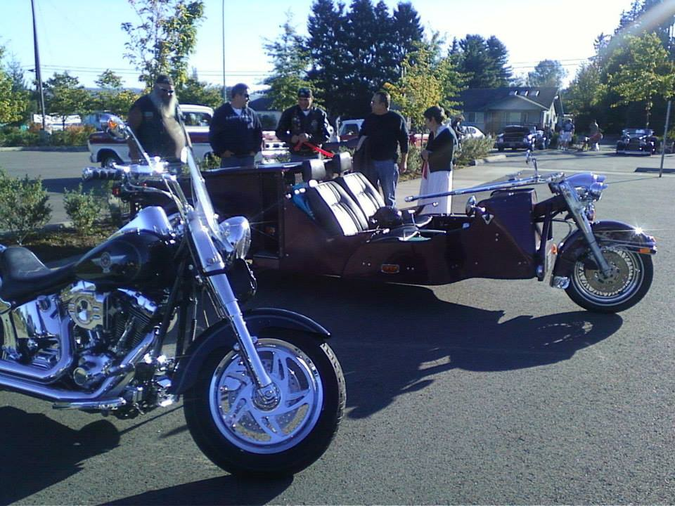 Two custom bikes came this year - Crystal's 2005 Custom Harley, and Lanny's Custom Trike with Pinto engine, Harley front end, and Volkswagon frame. Thanks for coming out you guys!