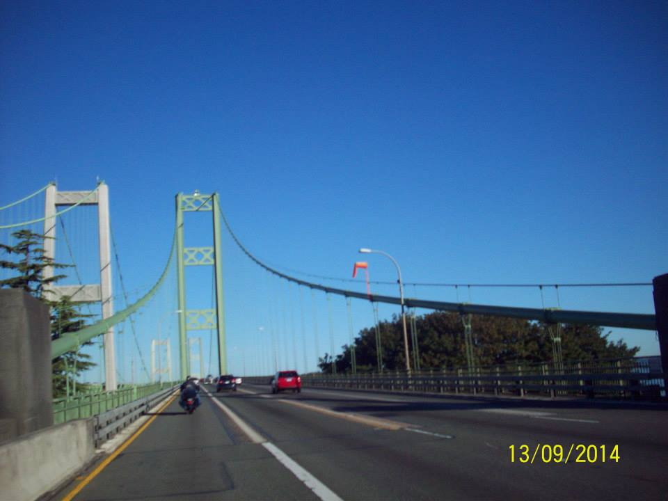 Across the Narrows Bridge.