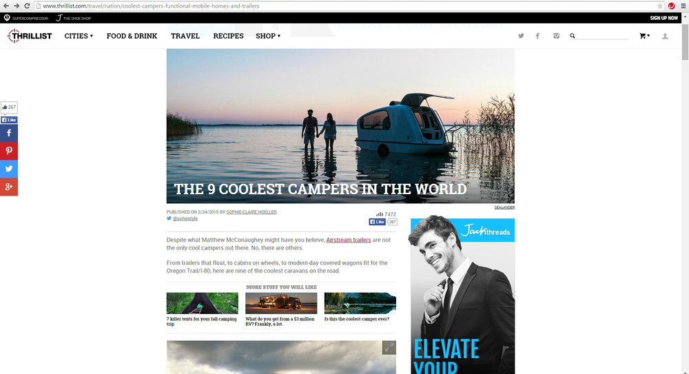 Thrillist -  9 Coolest Campers In The World Article