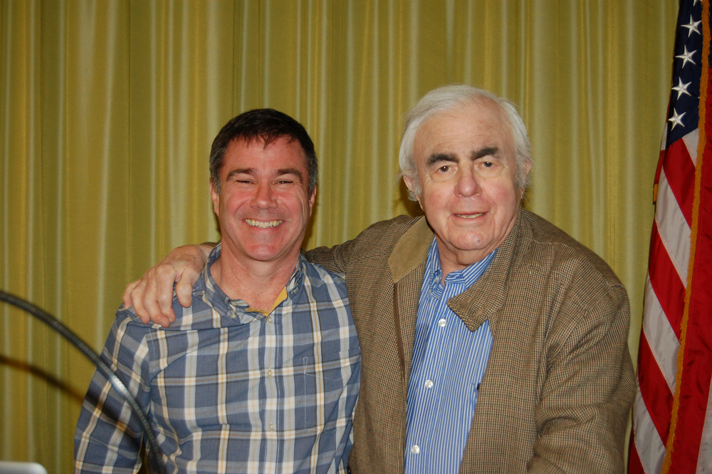 Photo by Andy Pinto  Everette Raymond Kinstler and I having a good time just before he spoke at Housatonic Community College regarding his work as a renowned portrait painter.